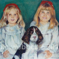 MCWEBBER 2 children with their dog - Oil