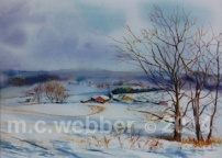 MCWEBBER Farm in Winter - Watercolor